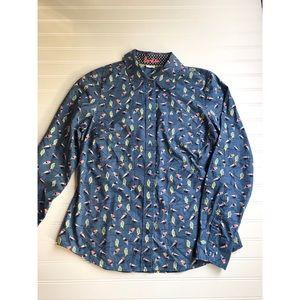 Boden Bird Print button down shirt sz 12 blue